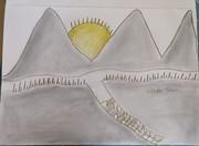 three mountain with sun