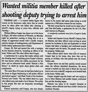William Cooper Killed News Article Wanted Militia Member Killed