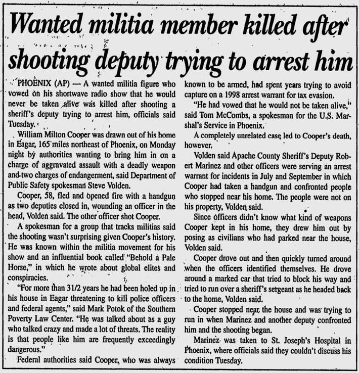 William Cooper Killed News Article Wanted Militia Member Killed
