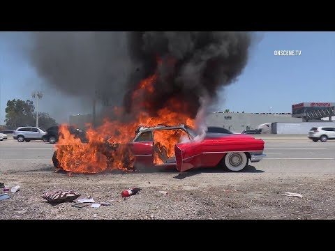 Classic Cadillac Coupe Burns On Busy Freeway In Tustin