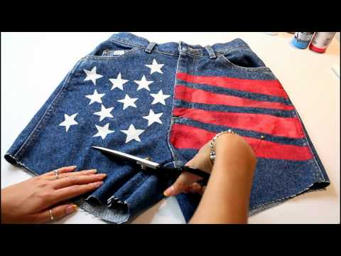 DIY Flag Cut Off Shorts: Stenciling & Distressing