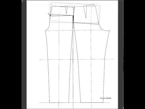 Pant pattern adjustment for forward tilted hips