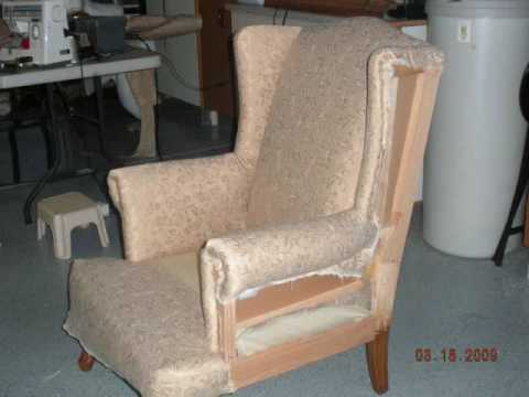 Wing Chair Re-upholster Slide Show - Thrifty!