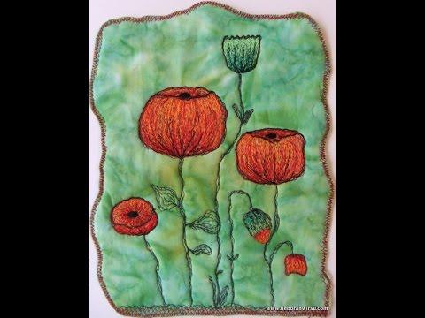 Thread Sketching Poppy Art