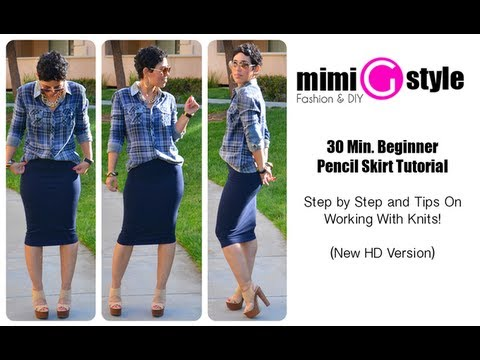 30 Minute Pencil Skirt Tutorial + Tips On Sewing with Knit Fabrics