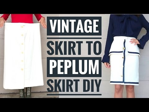 Refashioned Skirt to Nautical Peplum Skirt with Sarah Tyau
