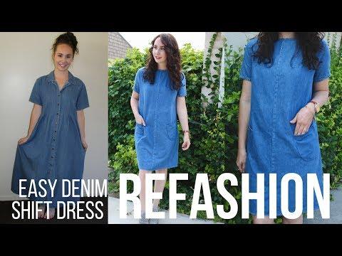Easy Frayed Denim Shift Dress Refashion
