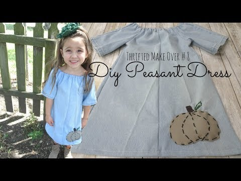 Sew a Child's Peasant Dress with Pumpkin Appliqué - Thrifted Refashion