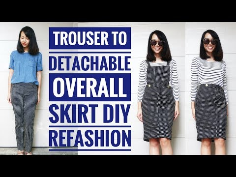 Sarah Tyau Refashions a Pair of Pants into a Overall Skirt with Detachable Bib