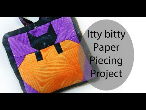 Itty Bitty Kitty Cat in Pumpkin for Halloween - A Free Paper Piecing Pattern + Tutorial