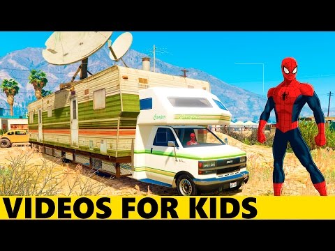 Spiderman Repairs Fun RV in Cars Cartoon for Kids and Children with Funny Nursery Rhymes Songs