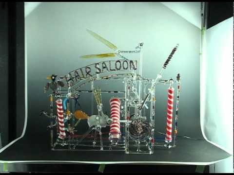 Hair Saloon - Kinetic Glass Sculpture by Bandhu Dunham