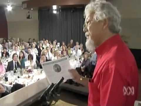 David Suzuki addresses the media