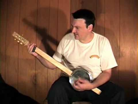 """T for Texas"" Cookie Tin 4 String fretless guitar dobro banjo slide thing Mark Stowe"