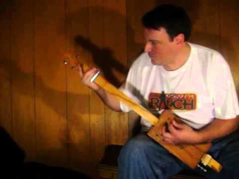 """Whiskey Drinking Alligator"" 3 String Cigar Box Guitar Fretless Slide Mark Stowe"