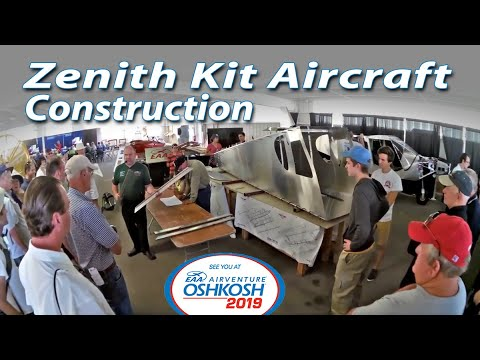 Zenith Aircraft kit assembly at Oshkosh AirVenture in the AeroPlane Workshop hangar
