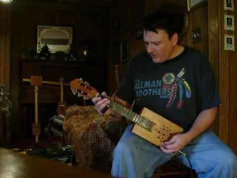"""Cross Roads Blues"" 5 String Cigar Box Guitar - Mark Stowe - Crossroads"