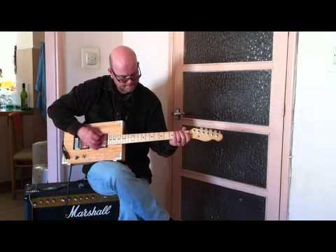 Sven Midensol testing his box guitar