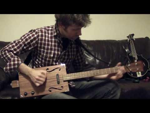 4 String 'Smokestack' Cigar Box Guitar Demo - Solid Mahogany
