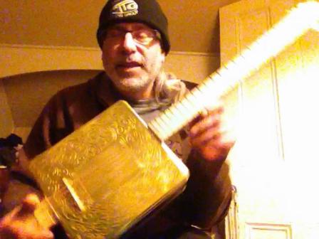 Troy Eckstein 5 string cookie tin guitar