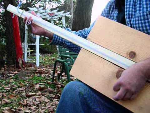 """Escape From the Lumberyard"" Primitive Homemade GUITAR 1 string fretless plank Guitar / Bass Guitar"