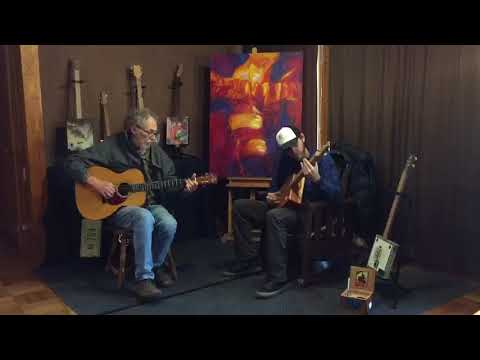 Larry Brick and Michael Hopper Amazing Grace on the box guitar I made
