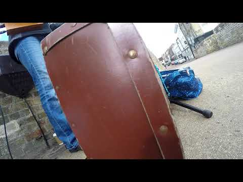 When your camera falls over : -/ - Busking with 3 String Cigar Box Guitar