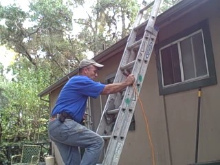 CordSnake on an Extension Ladder