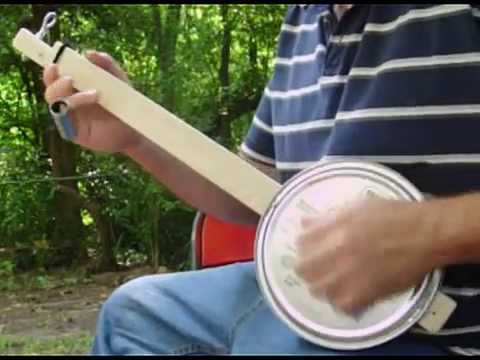 One String BANJO Homemade Cookie Tin Canjo with Eye bolt tuning key
