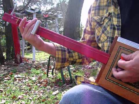 Red Neck Diddley Bow 1 string fretless Cigar Box Slide Guitar Blues Rock THING