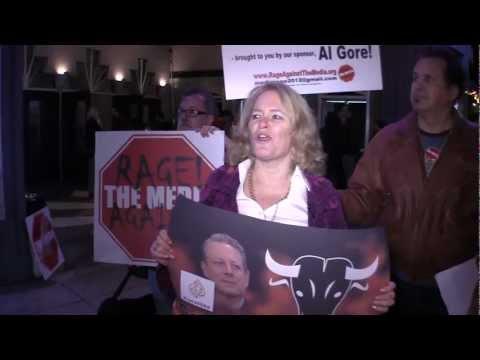 Rage Against The Media protests Al Gore sneaking Al Jazeera's bias into US homes & psyche