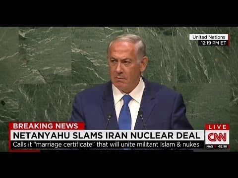 Netanyahu glares at U.N. for 45 seconds after berating its silence on Iran threat to Israel