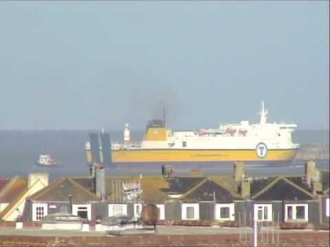 MV Dieppe aground outside Newhaven Harbour.