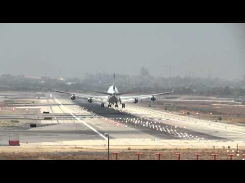 Crosswind  Gear Touchdown Ben Gurion Airport