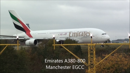 Emirates A380-800 Leaving Manchester EGCC on R05L