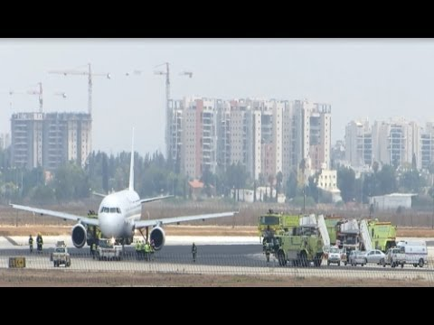 Emergency Landing Hermes Airlines Airbus A321 SX-BHS at TLV Ben Gurion Airport