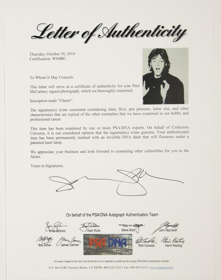 ''Sell:'',PSA/DNA LOA 4 'Paul McCartney'' 8x10 B&W Autographed Photo