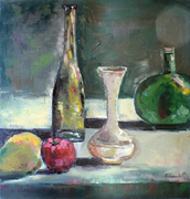 gree still life, verde bottle