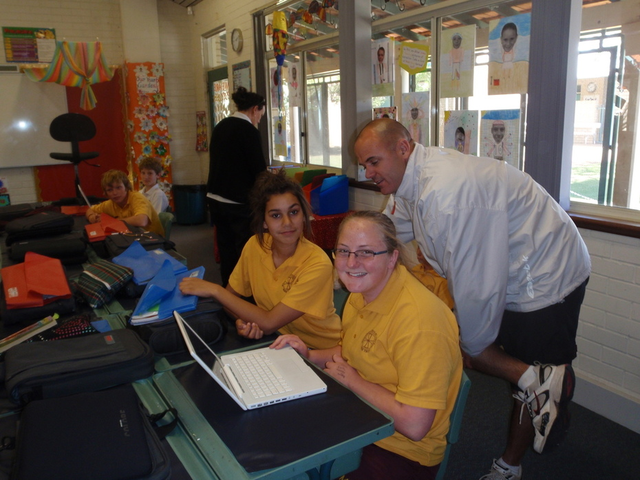 Paige and Chickerak with Mr Croft