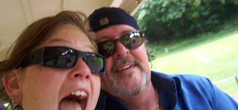 sara and i golfing