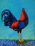 Red rooster 24''x 18'' acrylic on  canvas  2011