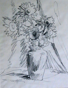 Sunflowers in charcoal