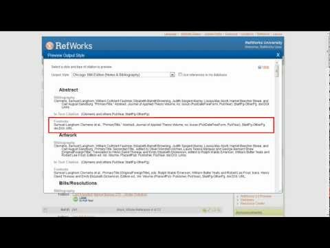 5.1 RefWorks Output Style Preview