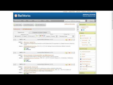 1.5 Creating a Bibliography Instantly in RefWorks