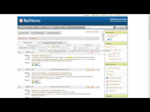 1.4 Searching for References in Your RefWorks Account Using Quick Search