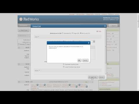 3.4 Editing Many RefWorks References at Once Using Global Edit
