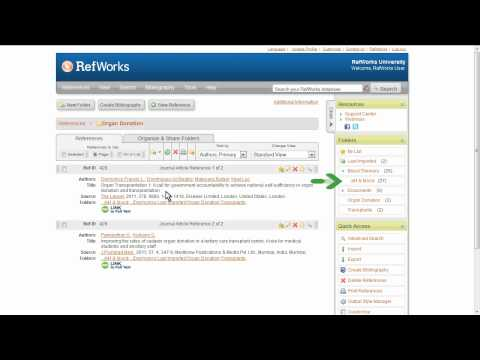 1.3 Organizing Imported References into Folders in RefWorks