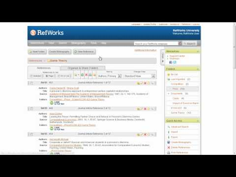 2.5 Managing Folders in RefWorks
