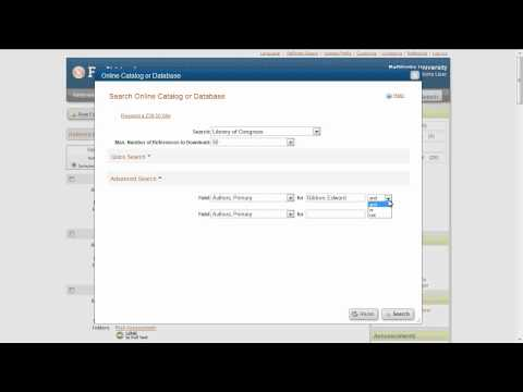 2.1 Searching Online Catalogs or Databases in RefWorks