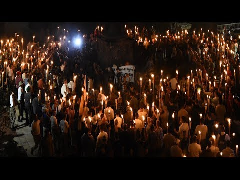 Unite The Right Torchlit March Towards Lee Park Through Charlottesville, VA